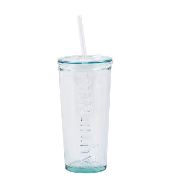AUTHENTIC Vaso con pajita transparente A 17 cm; Ø 8,5 cm_authentic-vaso-con-pajita-transparente-a-17-cm;-ø-8,5-cm