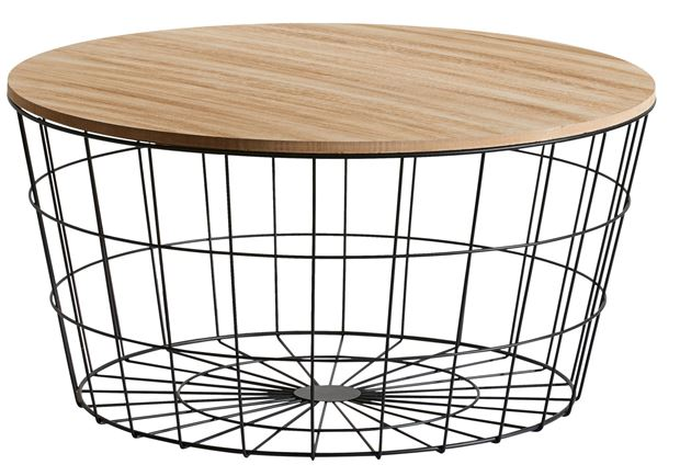 WIRE XL Table d'appoint XL noir, naturel H 34,5 cm; Ø 67 cm_wire-xl-table-d'appoint-xl-noir,-naturel-h-34,5-cm;-ø-67-cm