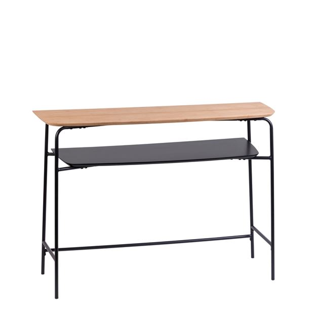 PORTLAND Table murale noir, naturel H 78 x Larg. 110 x P 35 cm_portland-table-murale-noir,-naturel-h-78-x-larg--110-x-p-35-cm