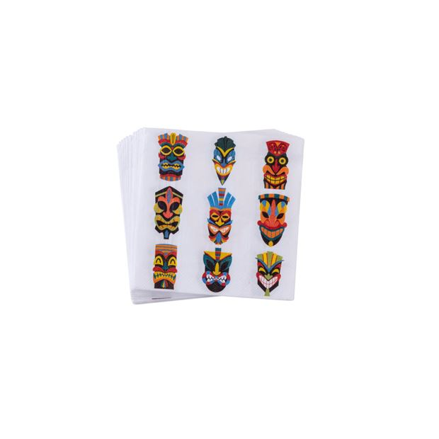 TIKI Set de 20 serviettes multicolore Larg. 25 x Long. 25 cm_tiki-set-de-20-serviettes-multicolore-larg--25-x-long--25-cm