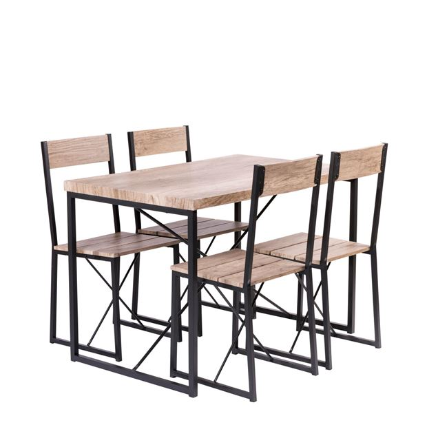 NEW BASE Table et 4 chaises brun_new-base-table-et-4-chaises-brun