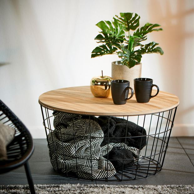 WIRE XL Table d'appoint XL noir, naturel H 34.5 cm; Ø 67 cm_wire-xl-table-d'appoint-xl-noir,-naturel-h-34-5-cm;-ø-67-cm