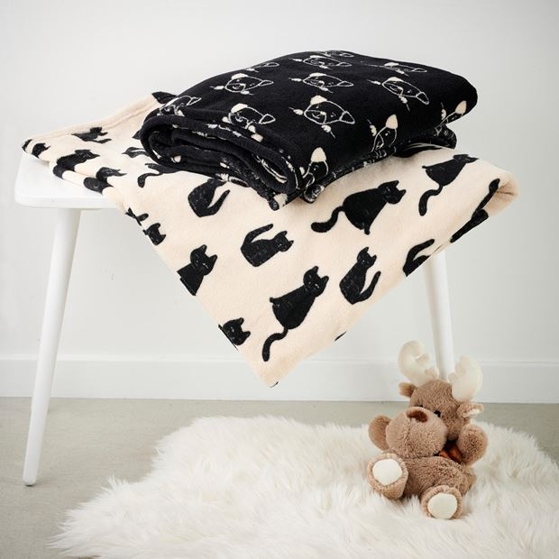 DOGS Plaid noir Larg. 130 x Long. 160 cm_dogs-plaid-noir-larg--130-x-long--160-cm