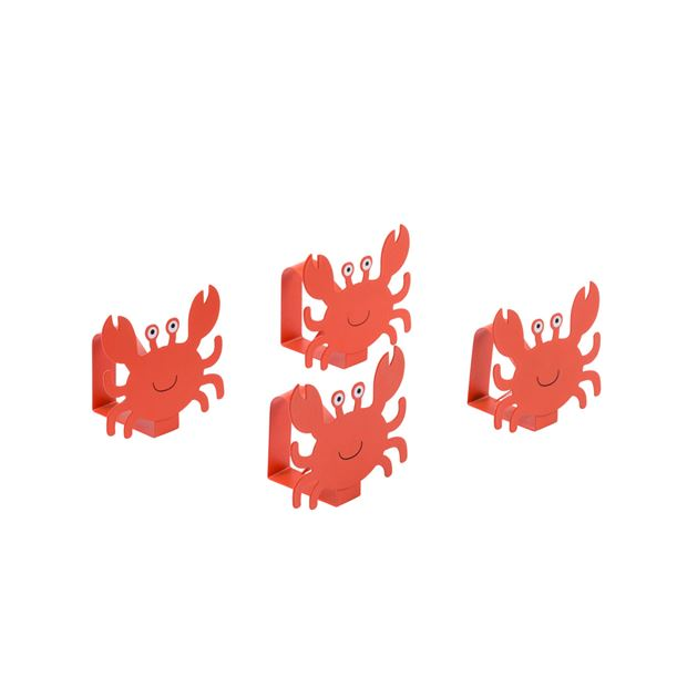 OH CRAB! Pinces à nappe set de 4 rouge, orange H 6 x Larg. 7 x P 5 cm_oh-crab!-pinces-à-nappe-set-de-4-rouge,-orange-h-6-x-larg--7-x-p-5-cm