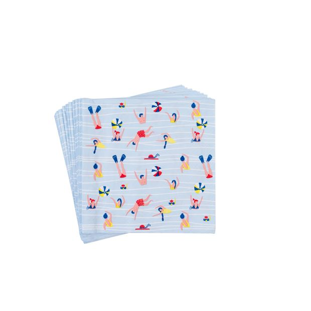SWIMMING POOL Set de 20 serviettes bleu Larg. 33 x Long. 33 cm_swimming-pool-set-de-20-serviettes-bleu-larg--33-x-long--33-cm