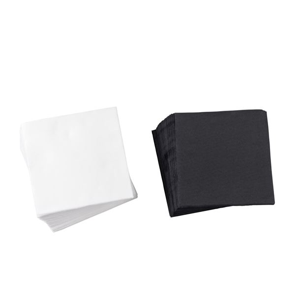SOFT UNI Set de 50 serviettes 2 couleurs noir, blanc Larg. 38 x Long. 38 cm_soft-uni-set-de-50-serviettes-2-couleurs-noir,-blanc-larg--38-x-long--38-cm