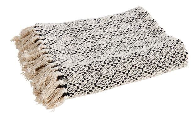 MINA RECYCLED Plaid noir, blanc Larg. 125 x Long. 150 cm_mina-recycled-plaid-noir,-blanc-larg--125-x-long--150-cm
