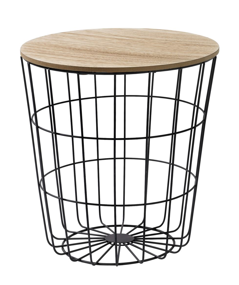 WIRE Table d'appoint noir, naturel H 41,5 cm; Ø 39,5 cm_wire-table-d'appoint-noir,-naturel-h-41,5-cm;-ø-39,5-cm