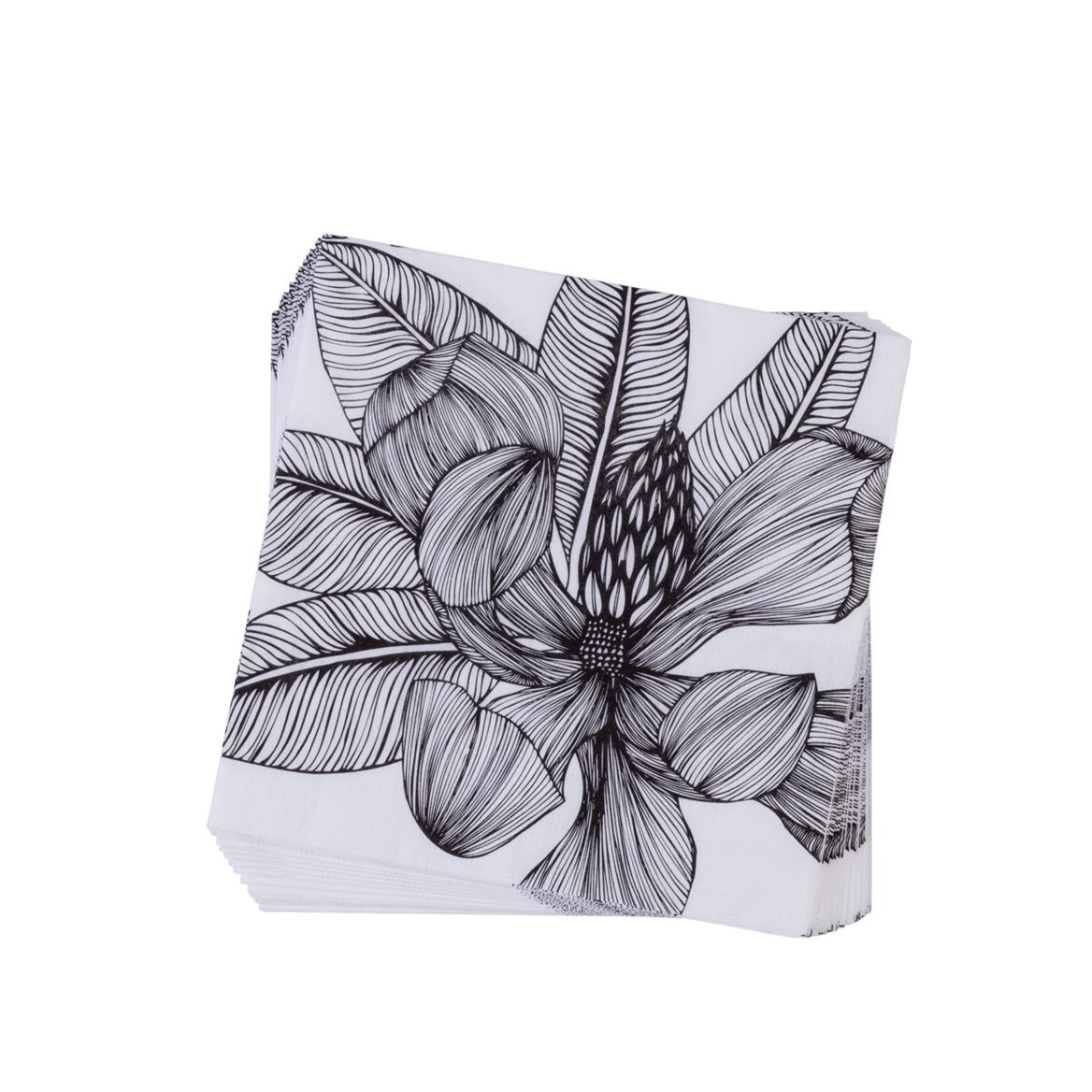 TROPICAL FLOWER Set van 20 servetten zwart, wit B 33 x L 33 cm_tropical-flower-set-van-20-servetten-zwart,-wit-b-33-x-l-33-cm