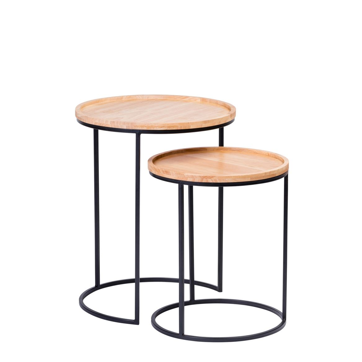 GOM Tables d'appoint set de 2 noir, naturel_gom-tables-d'appoint-set-de-2-noir,-naturel