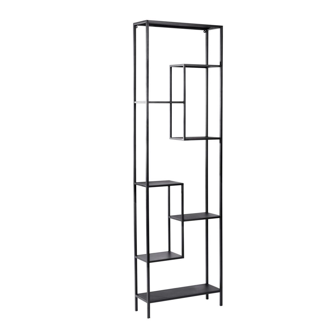 WILLIAM Scaffale da parete nero H 200 x W 60 x D 20 cm_william-scaffale-da-parete-nero-h-200-x-w-60-x-d-20-cm