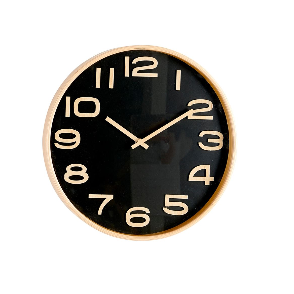 PLYWOOD Reloj de pared negro, natural P 4.5 cm; Ø 31 cm_plywood-reloj-de-pared-negro,-natural-p-4-5-cm;-ø-31-cm