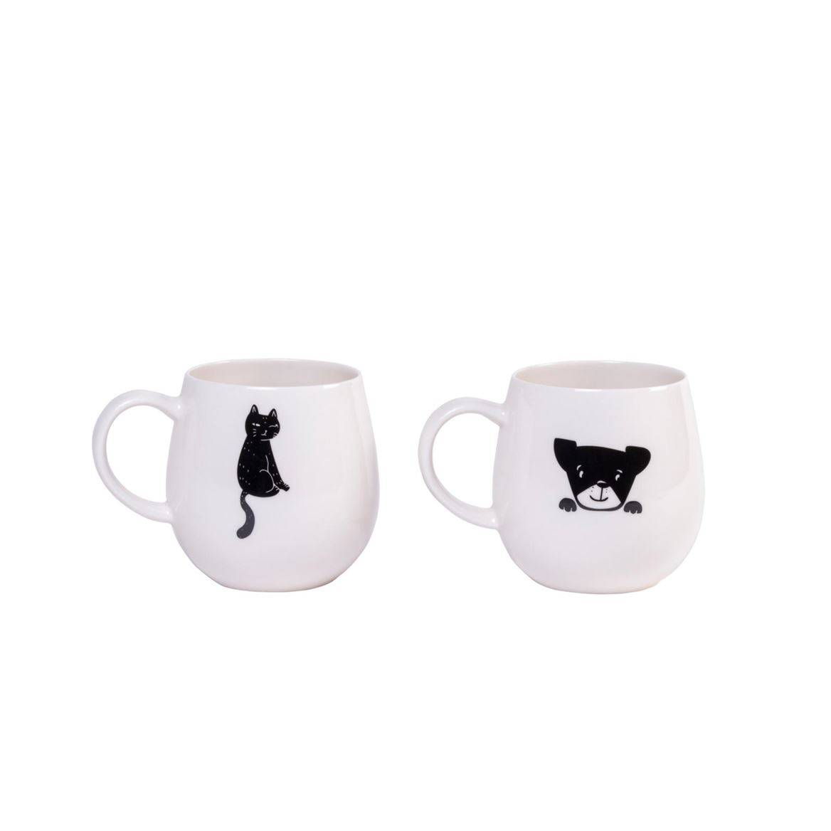 CAT AND DOG  Mug 2 disegni bianco H 10,5 cm; Ø 8,5 cm_cat-and-dog--mug-2-disegni-bianco-h-10,5-cm;-ø-8,5-cm