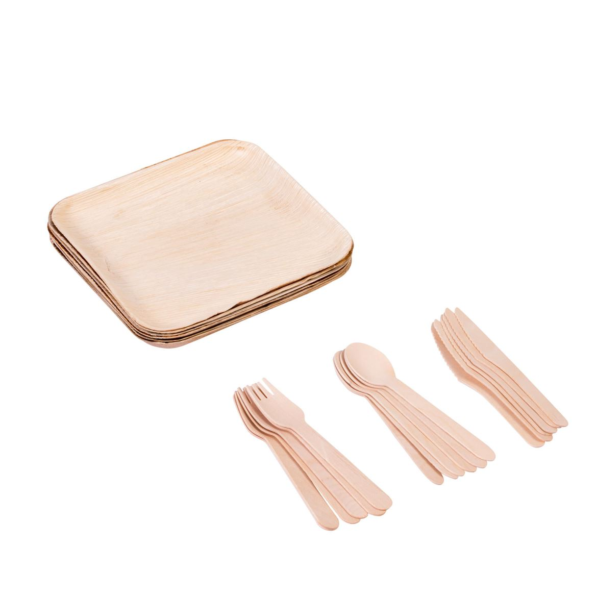 ARECA LEAF Set d'assiettes avec couverts naturel Larg. 20 x P 20 cm_areca-leaf-set-d'assiettes-avec-couverts-naturel-larg--20-x-p-20-cm