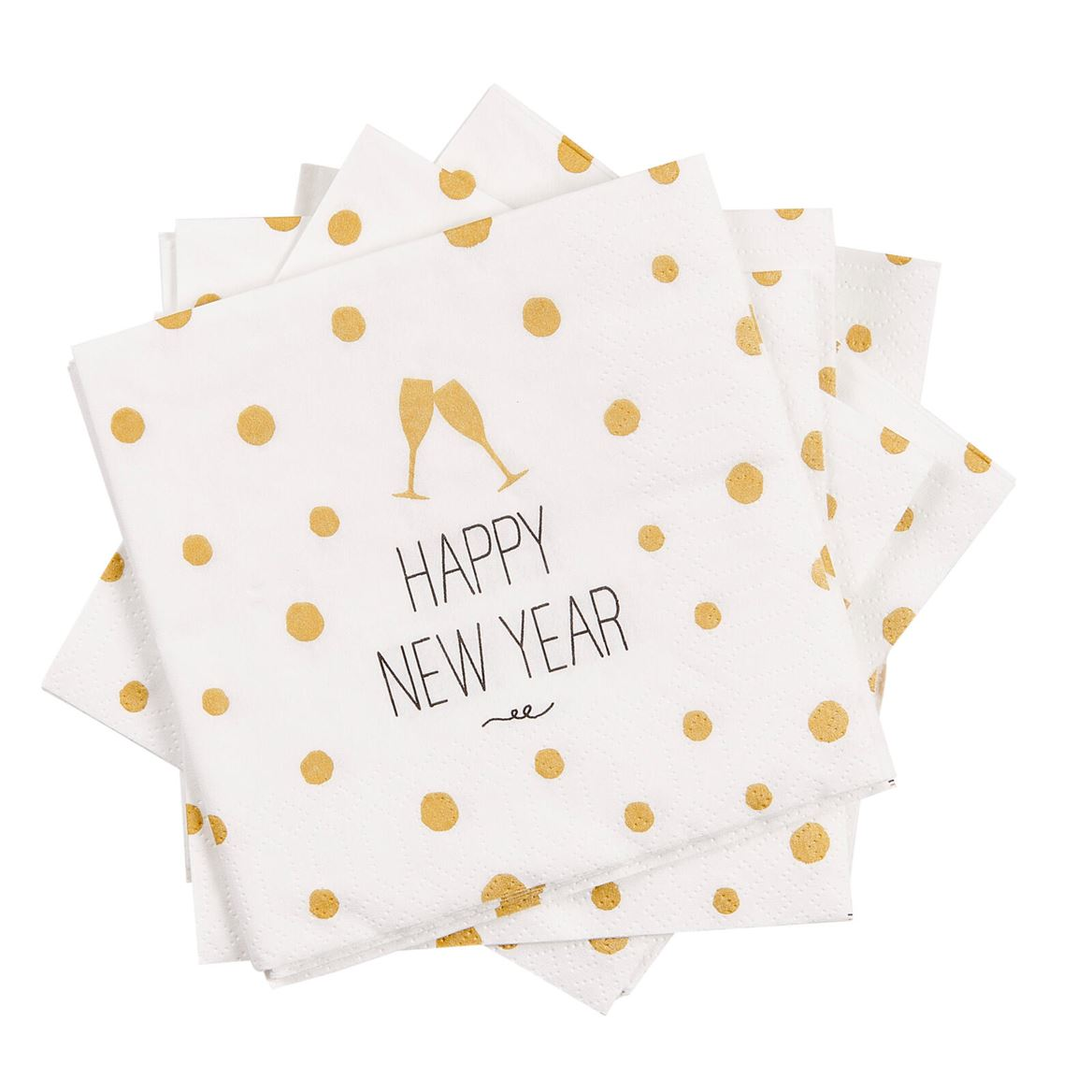 NEW YEAR Set de 20 serviettes blanc Larg. 25 x Long. 25 cm_new-year-set-de-20-serviettes-blanc-larg--25-x-long--25-cm