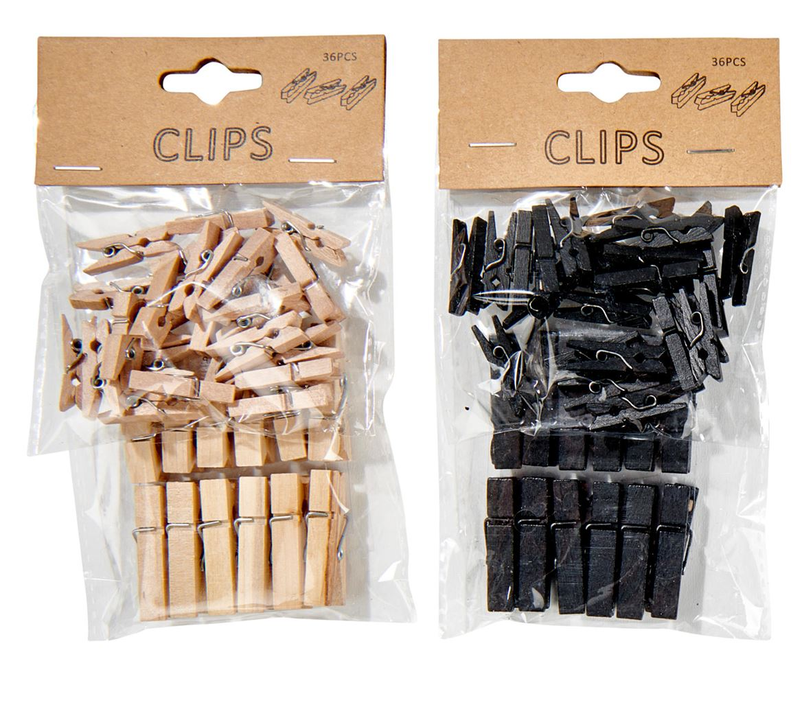 CLIPS Mini pinces set de 36 3 couleurs noir, blanc, naturel_clips-mini-pinces-set-de-36-3-couleurs-noir,-blanc,-naturel