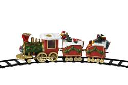 MUSICAL Train avec 2 wagons H 16,5 x Larg. 8 x Long. 50 cm