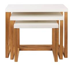 ELBA Table d'appoint set de 3 blanc, naturel