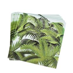 PALM TREES Set de 20 serviettes vert Larg. 33 x Long. 33 cm