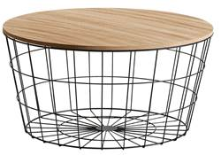 WIRE XL Table d'appoint XL noir, naturel H 34.5 cm; Ø 67 cm