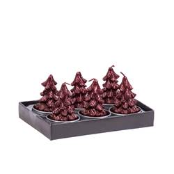 TREE Bougies chauffe-plat set de 6 rouge H 6,2 x Larg. 9,5 x Long. 13,8 cm