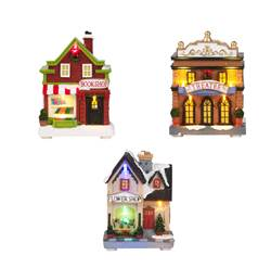 MINI VILLAGE Decorazione con luci led 3 modelli multicolore H 13,5 x W 10 x D 7,5 cm