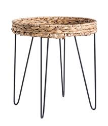 AKELA Table d'appoint noir, naturel H 44 x Larg. 40 x P 40 cm