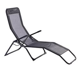 NEW SIESTA Chaise longue noir H 93 x Long. 140 x P 60 cm