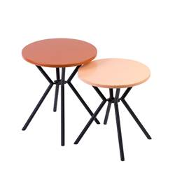 ADRIAN Tables d'appoint set de 2 naturel