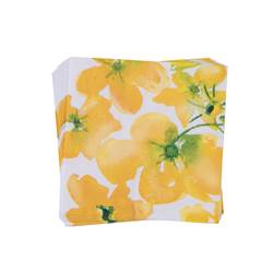 FLOWERS YELLOW Set de 20 serviettes jaune Larg. 33 x Long. 33 cm