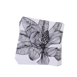 TROPICAL FLOWER Paquete de 20 servilletas negro, blanco An. 33 x L 33 cm