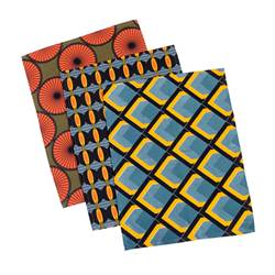 AFRI Set de table 3 motifs orange, jaune, bleu Larg. 33 x Long. 45 cm