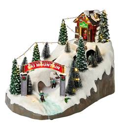 SKI MOUNTAIN Décoration de Noël multicolore H 24,5 x Larg. 36,5 x P 24,5 cm