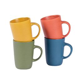 ENJOYTIME Mug 4 couleurs orange, jaune, vert, bleu H 9 cm; Ø 6,5 cm