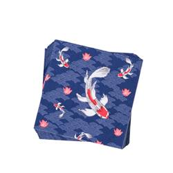 KOI Set de 20 serviettes bleu Larg. 33 x Long. 33 cm