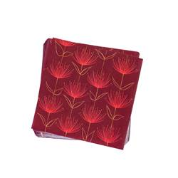 FLOWERS FIRE RED Set de 20 serviettes rouge Larg. 33 x Long. 33 cm