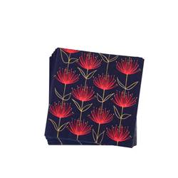 FLOWERS FIRE BLUE Set de 20 serviettes rouge, bleu Larg. 33 x Long. 33 cm