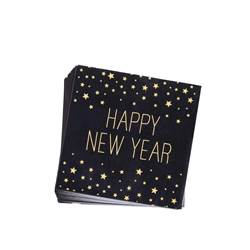 HAPPY YEAR BLACK Set de 20 serviettes noir Larg. 33 x Long. 33 cm