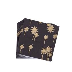 GOLD PALM Set de 20 serviettes noir, doré Larg. 33 x Long. 33 cm