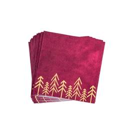 VELVET Set de 20 serviettes rouge foncé Larg. 33 x Long. 33 cm