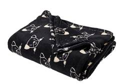 DOGS Plaid noir Larg. 130 x Long. 160 cm