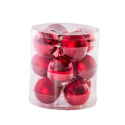 RED Boule de Noël set de 12 rouge Ø 6 cm