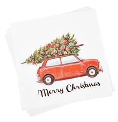 XMAS CAR Set de 20 serviettes diverses couleurs Larg. 33 x Long. 33 cm