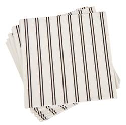 STRIBE Set de 20 serviettes noir, blanc Larg. 33 x Long. 33 cm