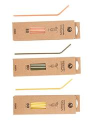 ECO FRIENDLY 80 pailles biodégradables 3 couleurs orange, jaune, olive Long. 24 cm; Ø 0,5 cm