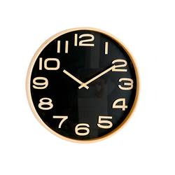 PLYWOOD Reloj de pared negro, natural P 4.5 cm; Ø 31 cm