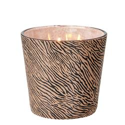 SAFARI Candela in vaso nero, marrone H 12,5 cm; Ø 13,5 cm