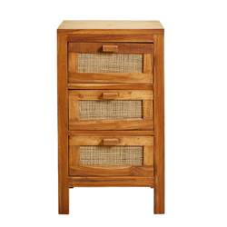 TECK 3-laden kast naturel H 68 x B 33 x L 39 cm