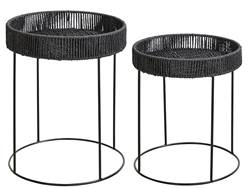MADISON Tables d'appoint set de 2 noir H 50 cm; Ø 40 cm