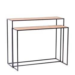 COMBO Table murale set de 2 naturel H 81 x Larg. 30 x Long. 97 cm